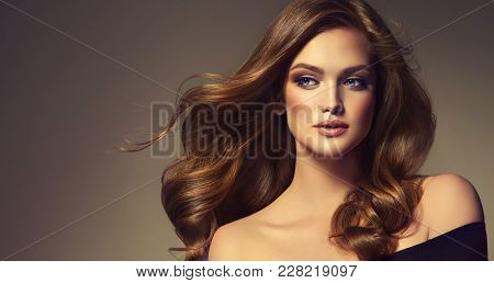 Brunette  Girl With Long  And   Shiny Curly Hair .  Beautiful  Brown Haired Model Woman  With Wavy H