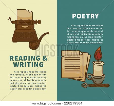 Poetry Writing And Reading Posters Of Rarity Books And Writer Stationery For Bookshop Or Bookstore A