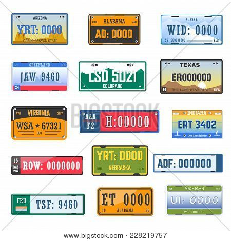 Vehicle Registration Number Plates Collection Of Different Country. Vector Isolated Icons Set Of Car