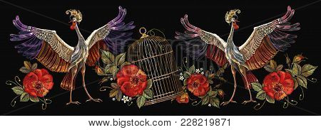 Embroidery Crane Birds, Golden Cage And Roses. Template For Clothes, Textiles, T-shirt Design. Class