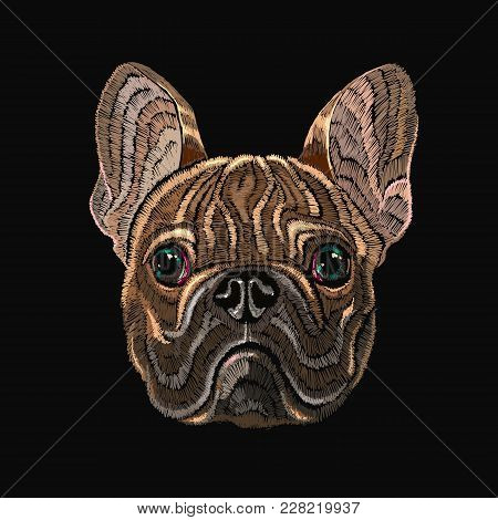 Classical Embroidery Head Bulldog, Fashionable Design For Clothes, T-shirt Design. Embroidery French