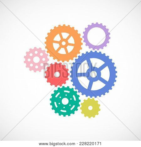 Gears Set. Cogwheel Icon. Background With Connected Gears. Vector