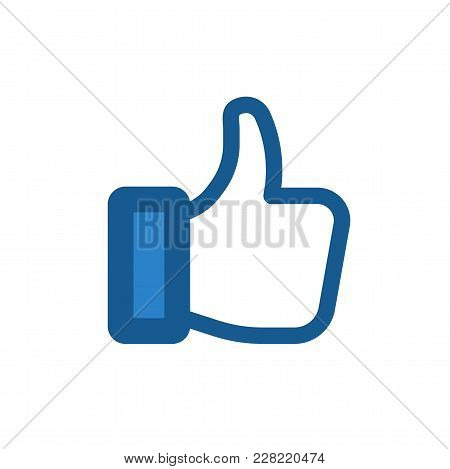 Like Icon. Thumb Up Sign. Flat Contour Hand. Vector