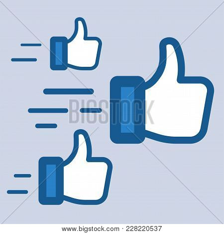 Flying Likes. Thumb Up Sign. Social Media Symbols. Flat Icon Design For Promotion, Marketing, Seo, B