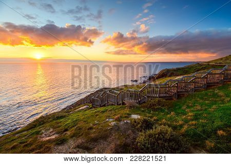 Hallett Cove Park Boardwalk At Sunset, South Australia
