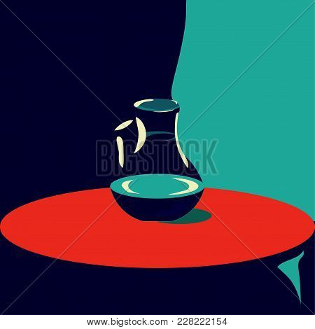 Art Deco Styled Retro Illustration Of A Lonely Jug Of Water. Great As Minimalistic Poster For Hotels