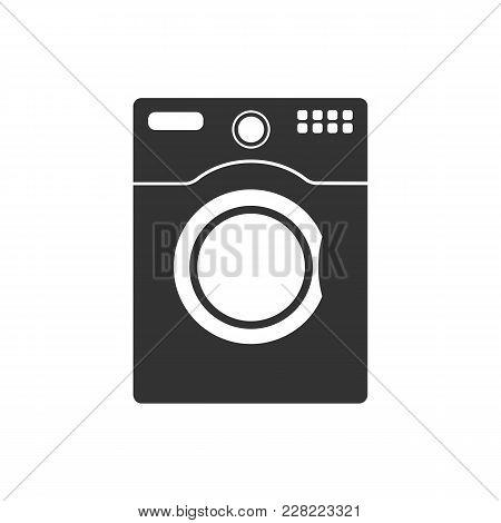 Washer Icon. Washer Vector Isolated On White Background. Flat Vector Illustration In Black. Eps 10