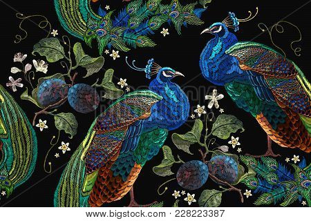 Embroidery Peacocks Tropical Birds And Plum Branch Seamless Pattern. Classical Fashionable Embroider
