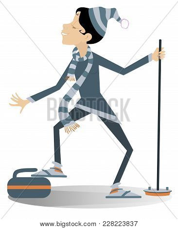 Smiling Young Woman Plays Curling Isolated Illustration. Smiling Woman With Curling Brush Put One Fo