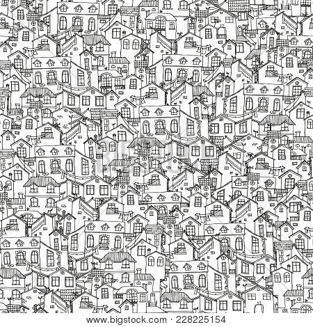 Pattern With Hand Drawn Doodle Houses. Illusttration With Cute House. Line House Drawing. Samless Ba
