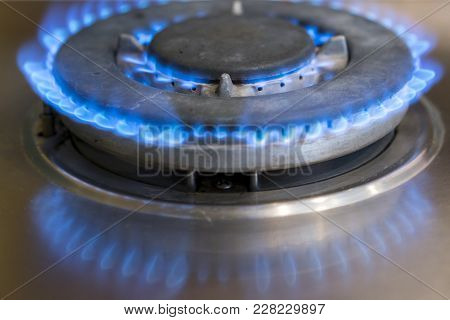 On The Gas Stove, Gas Is Burning.