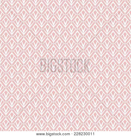 Abstract Geometric Patern With Squares. A Seamless Vector Background. Pink  And White Texture. Graph