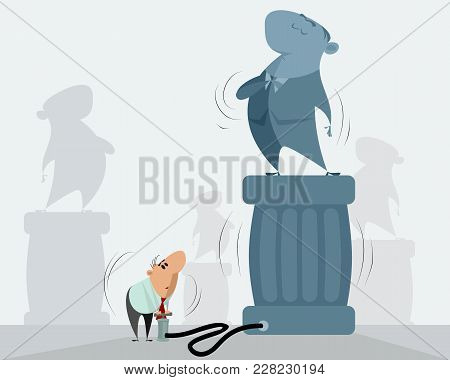 Vector Illustration Of A Man Artificially Inflating Authority