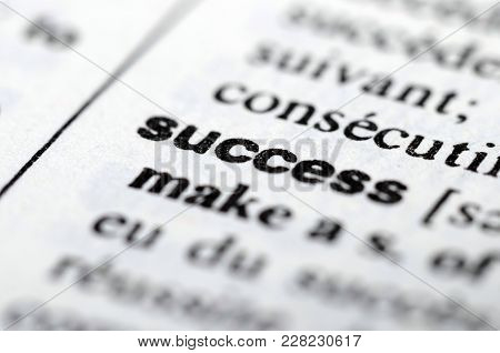 Success Word In Dictionary, Close Up, Blur Low Depth Of Field, For Background