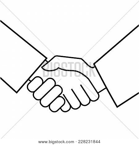 Business Handshake. Icon On White Background. Vector Illustration