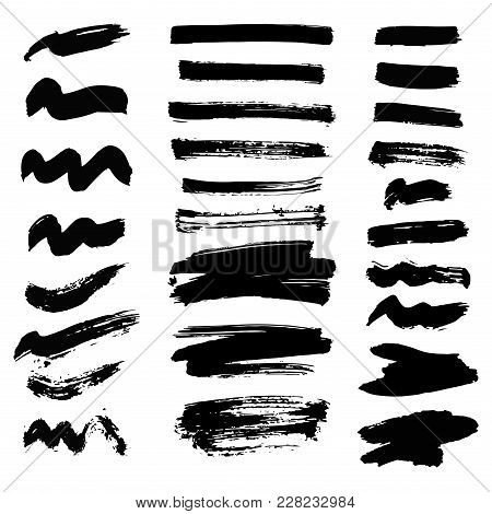 Vector Set Of Ink Splashes Blots Splatter Collection Grunge Design Black White And Art Messy Backdro