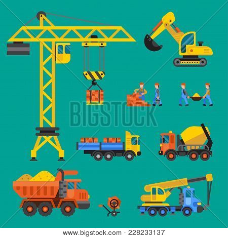 Building Under Construction Vector Crane And Workers Buildings Construction Technic Vector Illustrat
