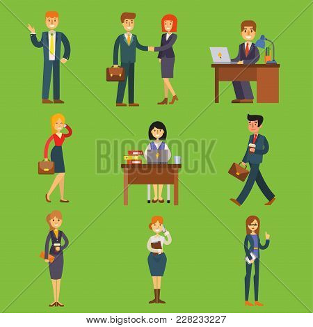 Business People Vector Characters Sitting, Meeting, Search Job Candidates Cartoon Characters Office