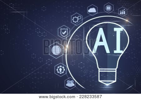 Abstract Ai Lamp On Blue Background. Artificial Intelligence And Science Concept. 3d Rendering
