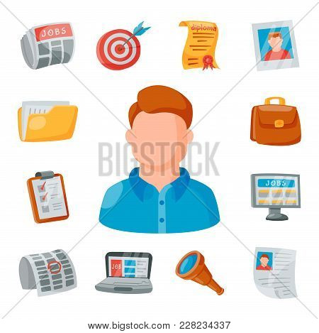 Vector Job Search Icon Set Office Concept Human Recruitment Employment Work. People Resources Career
