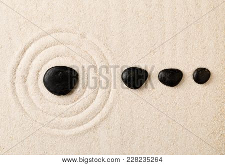 Zen Sand And Stone Garden With Raked Circles. Simplicity, Concentration Or Calmness Abstract Concept