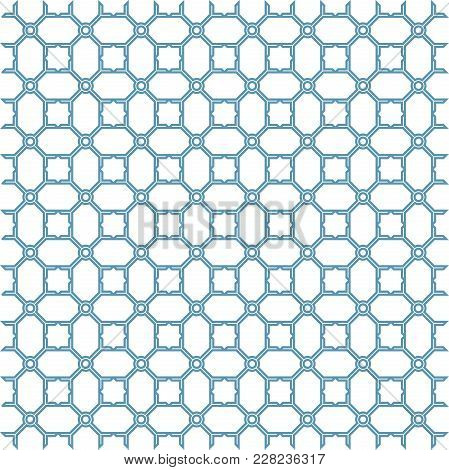 Abstract Geometric Patern With Squares. A Seamless Vector Background. Blue And White Texture. Graphi