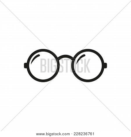 Round Glasses Icon. Round Glasses Vector Isolated On White Background. Flat Vector Illustration In B