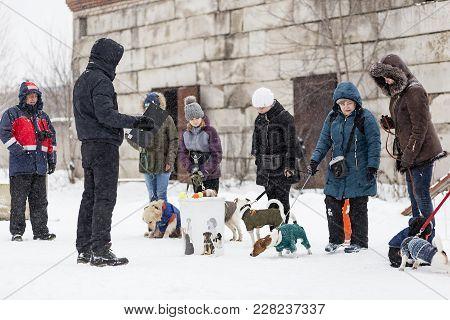 Russia Ivanovo Dec 24, 2017, People Train Dogs In Winter, Editorial