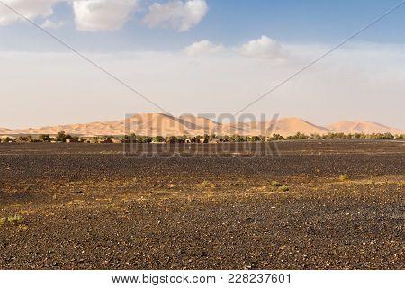 Dunes Of Erg Chebbi Near Merzouga In Southeastern Morocco.