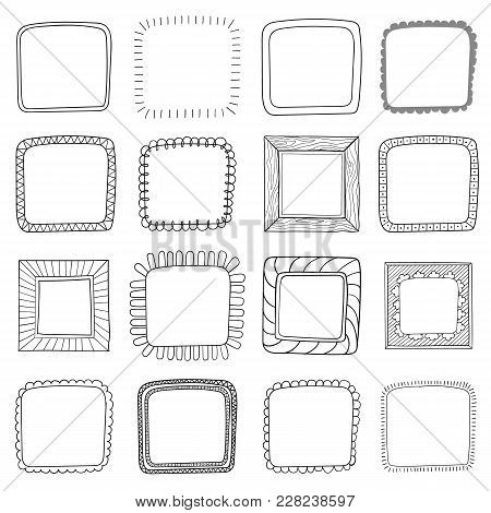 Vector Set Of Vintage Photo Frames, Hand Drawn Doodle Style, Antique Ornamental And Cute Photo Frame