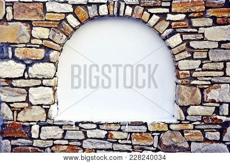 Beige Stony Brick Niche Arch Frame For Inscription In White Empty Background Space