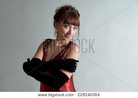 Women In Long Gloves. Girl Elegant Near Wall. Portrait Young Luxurious Woman Lady. Face Beautiful Wo