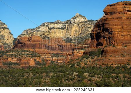 Late Afternoon Image Of Sandstone Rock Formations Red Rock-secret Mountain Wilderness Area Near Sedo