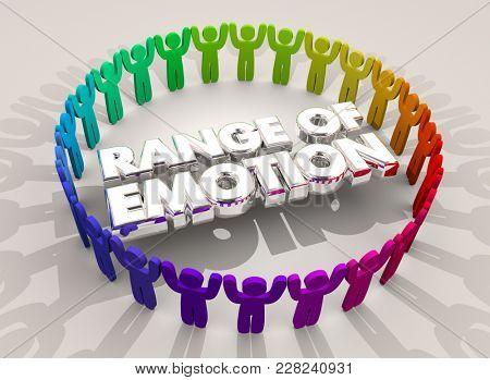 Range of Emotion People Feelings Joy Sadness 3d Illustration