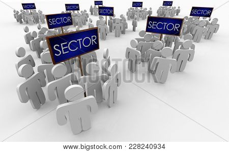 Sector People Segments Groups Demographics Signs 3d Illustration poster