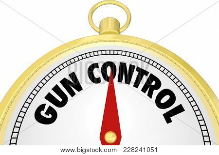 Gun Control Compass Direction Leadership Laws 3d Illustration