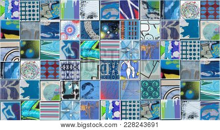 Abstract Blue Background made with Small illustrations