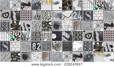 Abstract Gray Background made with Small illustrations