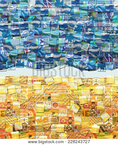 Sand and Sea Background made with Small Illustrations