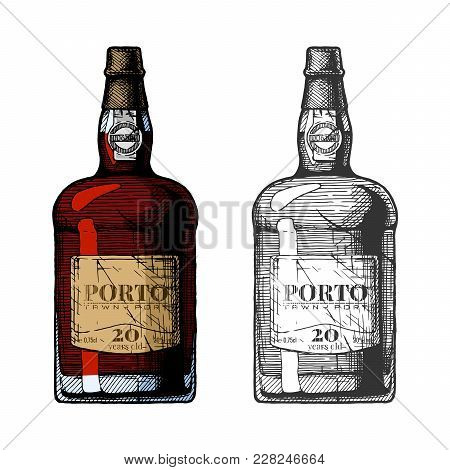 Vector Hand Drawn Illustration Of Tawny Port Wine Bottles In Vintage Engraved Style. 20 Years Old. C