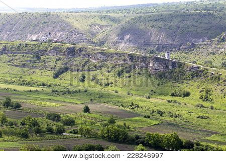 Panoramic Of The Landscape. View On Orhei Vechi Cloister In Moldova.