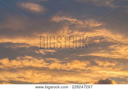 Dramatic Sunset Cloudy Sky With Clouds Lit By Sunlight - Natural Sky Background.sunset Cloudy Sky Wi