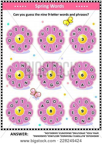 Spring Themed Word Puzzle (english Language) With Words Written On Petals Around The Flowers: Can Yo