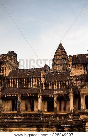 Beautiful View Of Angkor Wat Buildings, The Largest Religious Monument
