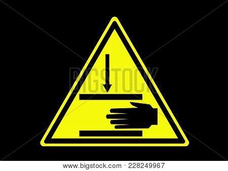 Pinch Point. Hand Crush Warning From Movement Machine