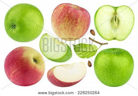 Green Apples With Leaves Isolated On White Background With Clipping Path