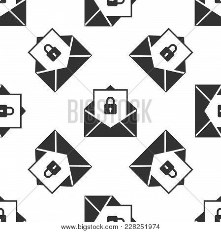 Secure Mail Icon Seamless Pattern On White Background. Mailing Envelope Locked With Padlock. Flat De