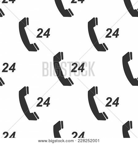 Telephone 24 Hours Support Icon Seamless Pattern On White Background. All-day Customer Support Call-