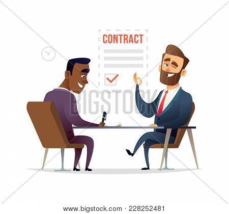 Businessman Partnership Beginning. Partners Signing Contract Agreement Closing Deal. Business Deal C