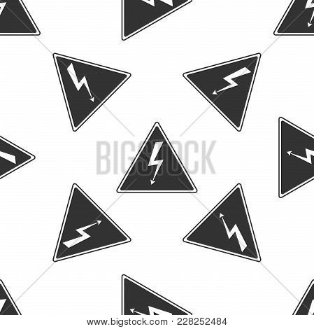 High Voltage Sign Icon Seamless Pattern On White Background. Danger Symbol. Arrow In Triangle. Warni